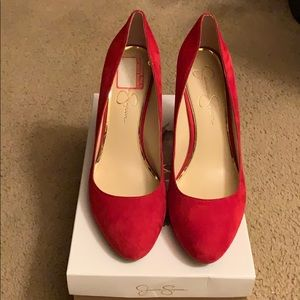 Red muse blocked heels